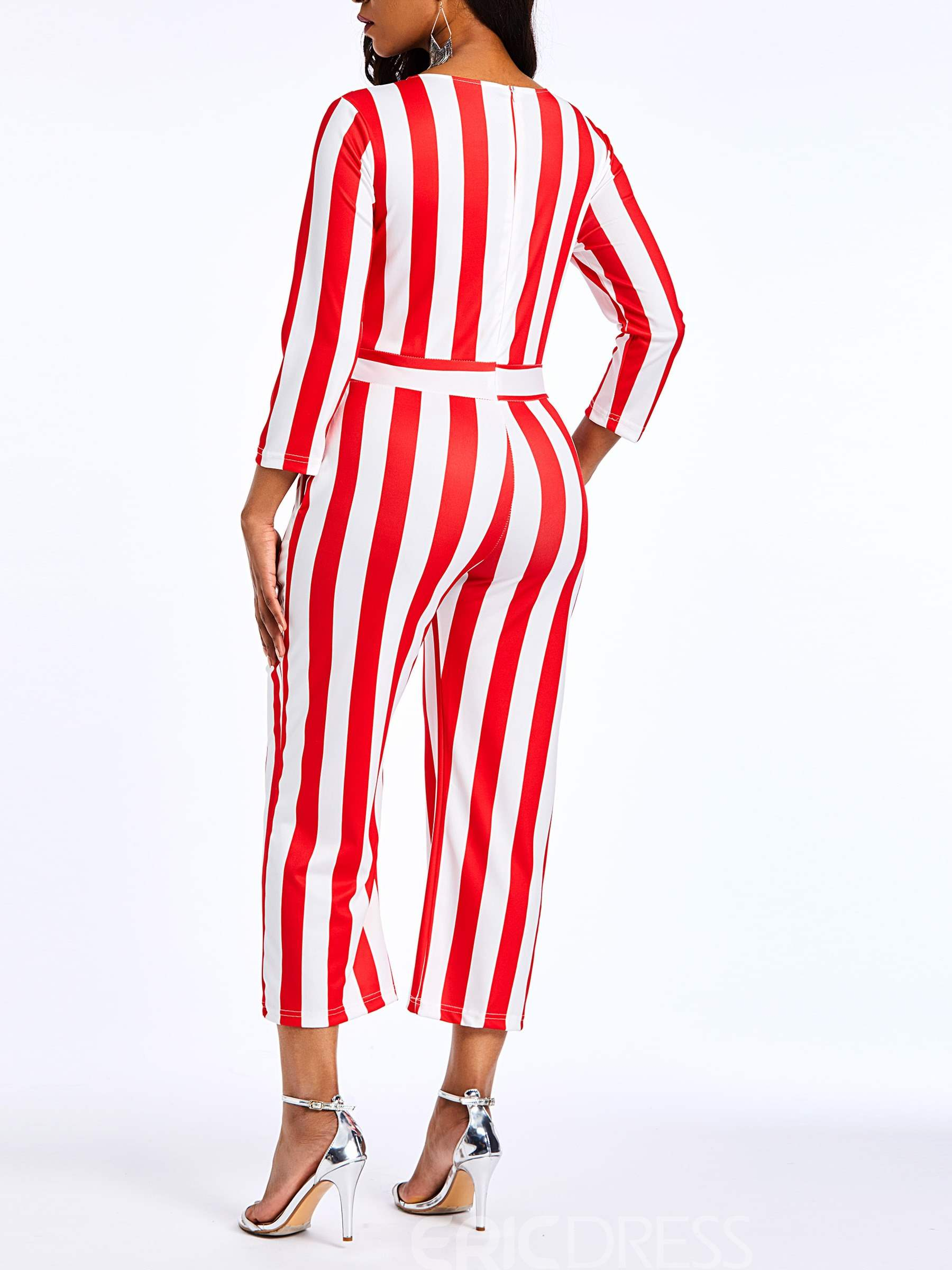 Ericdress Striped Color Block Pockets Straight Women's Jumpsuits