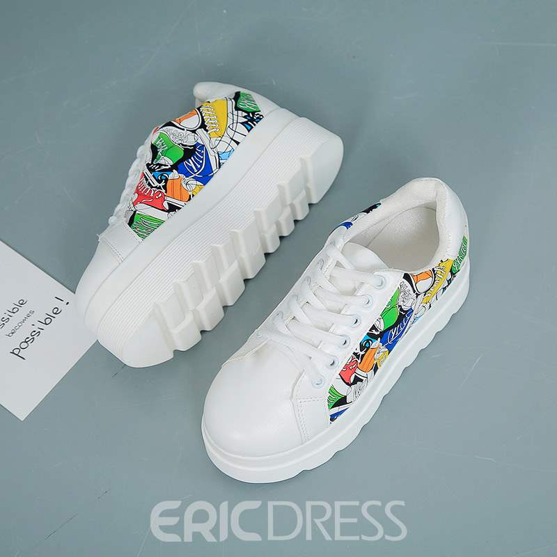Ericdress Print Round Toe Lace-Up Platform Women's Sneakers