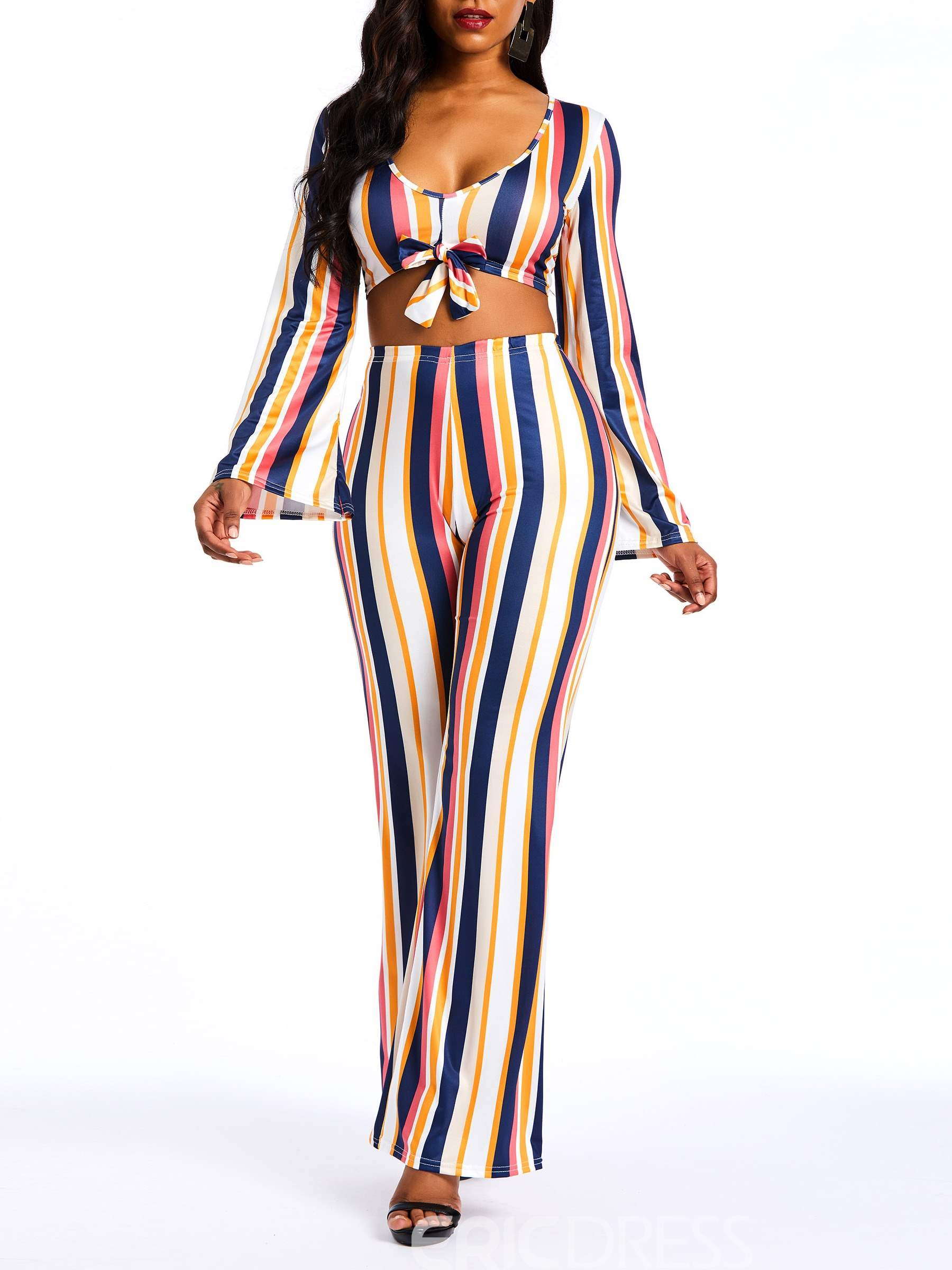Ericdress Striped Color Block Sexy Shirt and Pants Women's Two Piece Sets