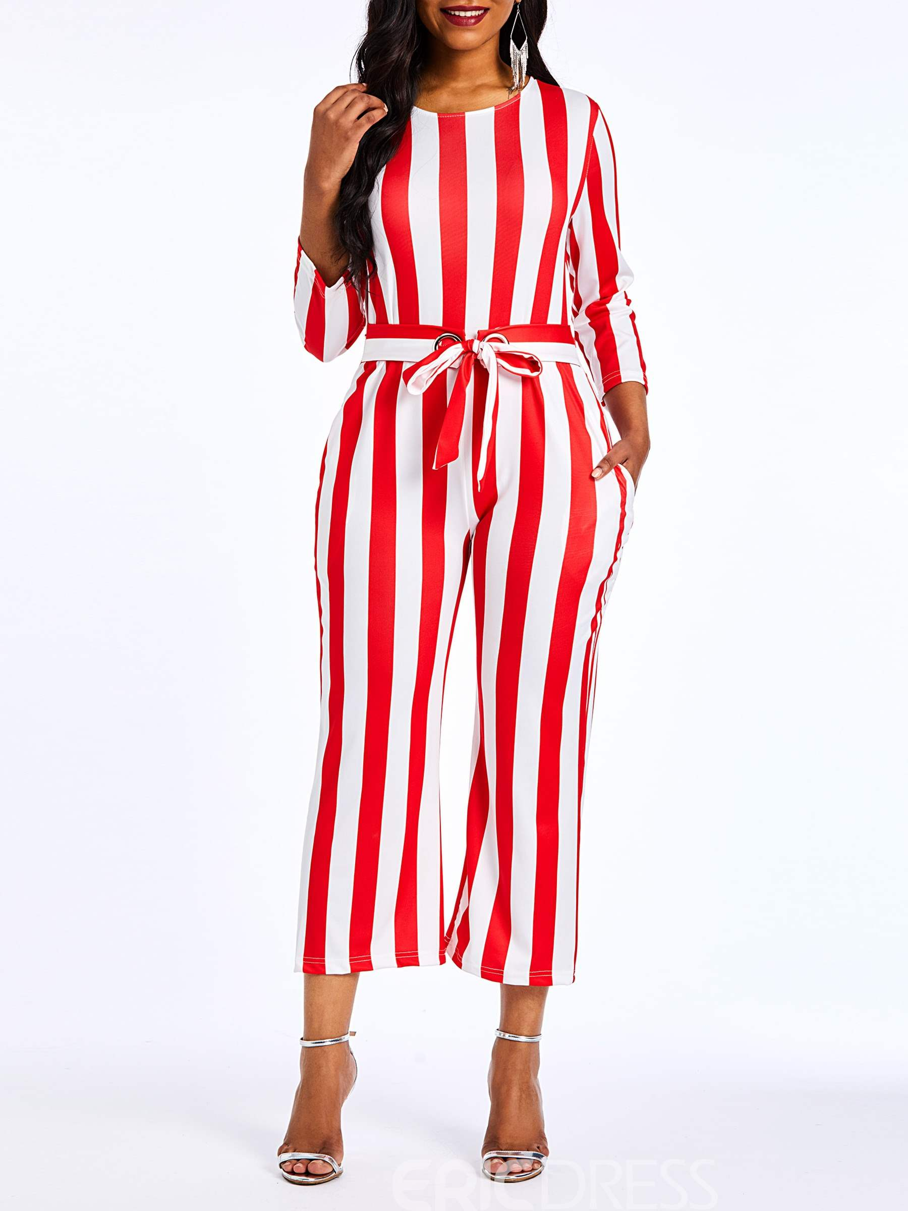 Ericdress Striped Color Block Pockets Straight Women's Jumpsuit