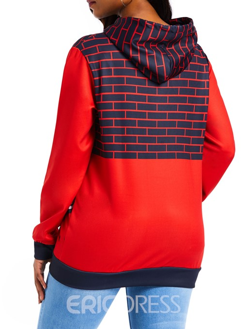 Ericdress Print Color Block Standard Hooded Hoodie