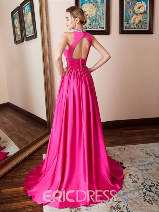 Ericdress Crystal Split Side Long Evening Dress 2019