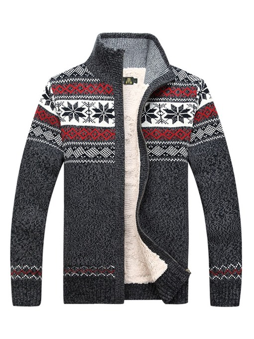 Ericdress Patchwork Stand Collar Color Block Mens Cardigan Sweaters