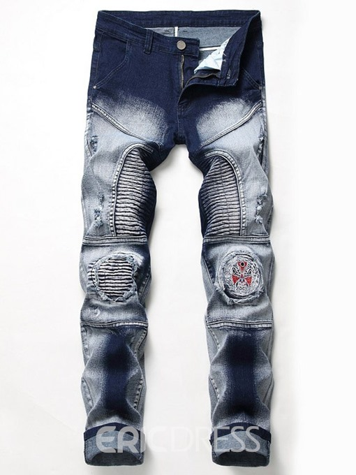 Ericdress Printed Zipper Mens Casual Ripped Jeans