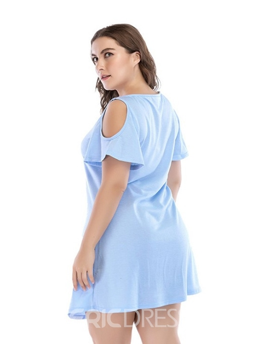 Ericdress Plus Size Above Knee Short Sleeve Hollow Pullover Plain Dress