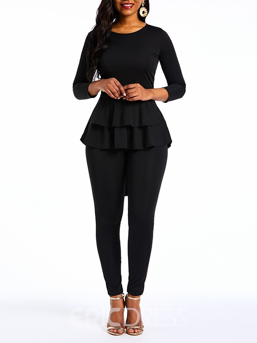 Ericdress Plain Ruffles Asymmetric Patchwork Shirtand Pants Women's Two Piece Sets