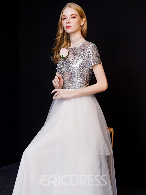 Ericdress A-Line Short Sleeves Long Evening Dress 2019