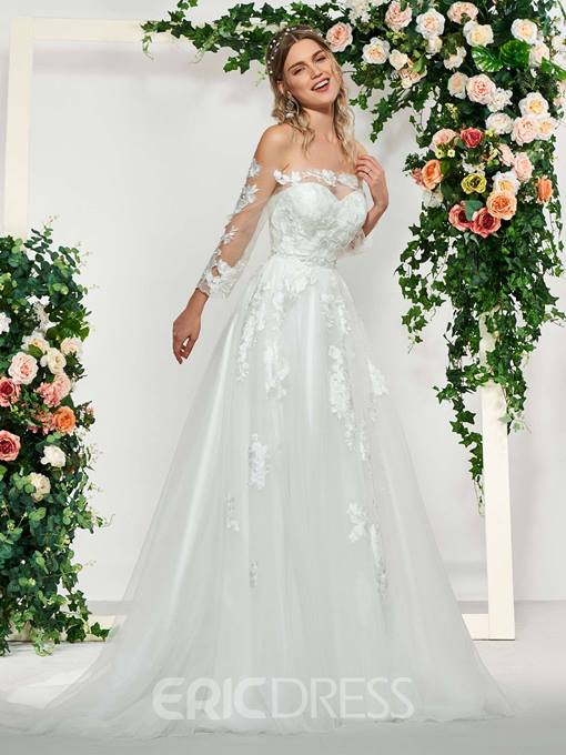Ericdress 3/4 Sleeves Lace Off-The-Shoulder Beach Wedding Dress 2019