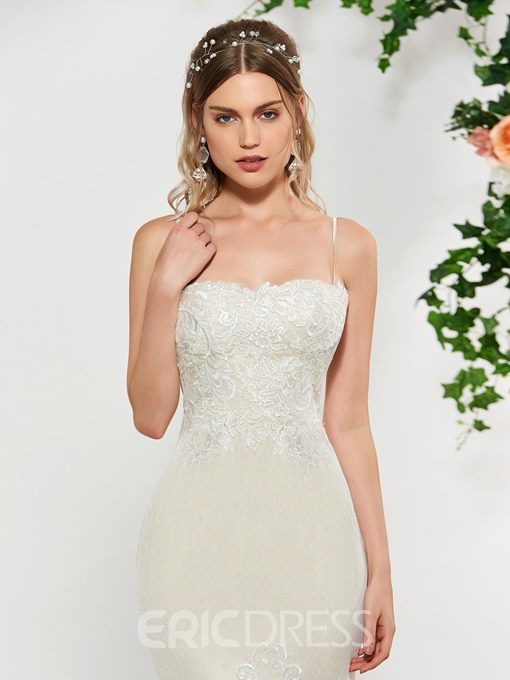 Ericdress Spaghetti Straps Mermaid Lace Wedding Dress 2019
