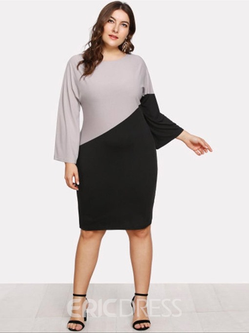 Ericdress Round Neck Patchwork Knee-Length Pullover Plus Size Dress