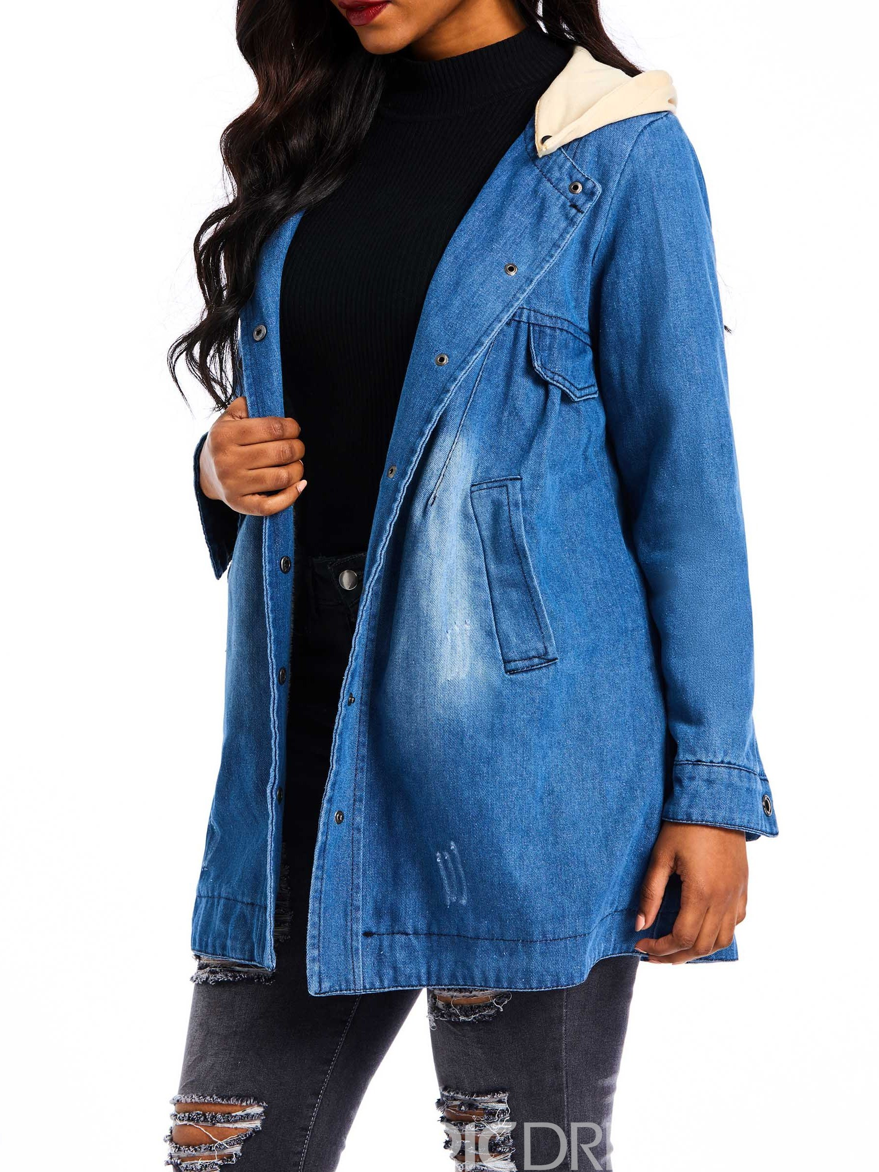 Ericdress Single-Breasted Straight Mid-Length Cotton Padded Jacket