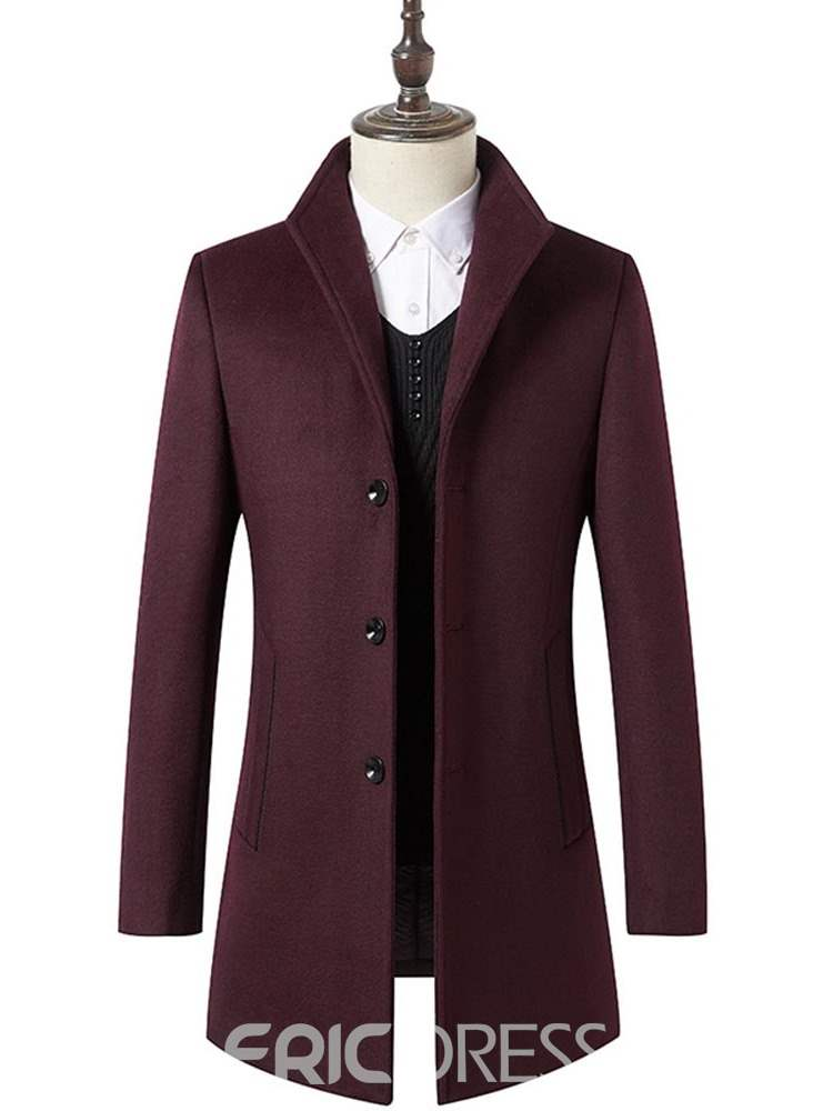 Ericdress Plain Mid-Length Slim Mens Winter Wool Coat