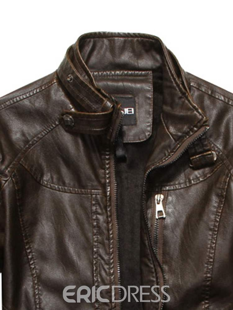Ericdress Plain Stand Collar Straight Mens Leather Jacket