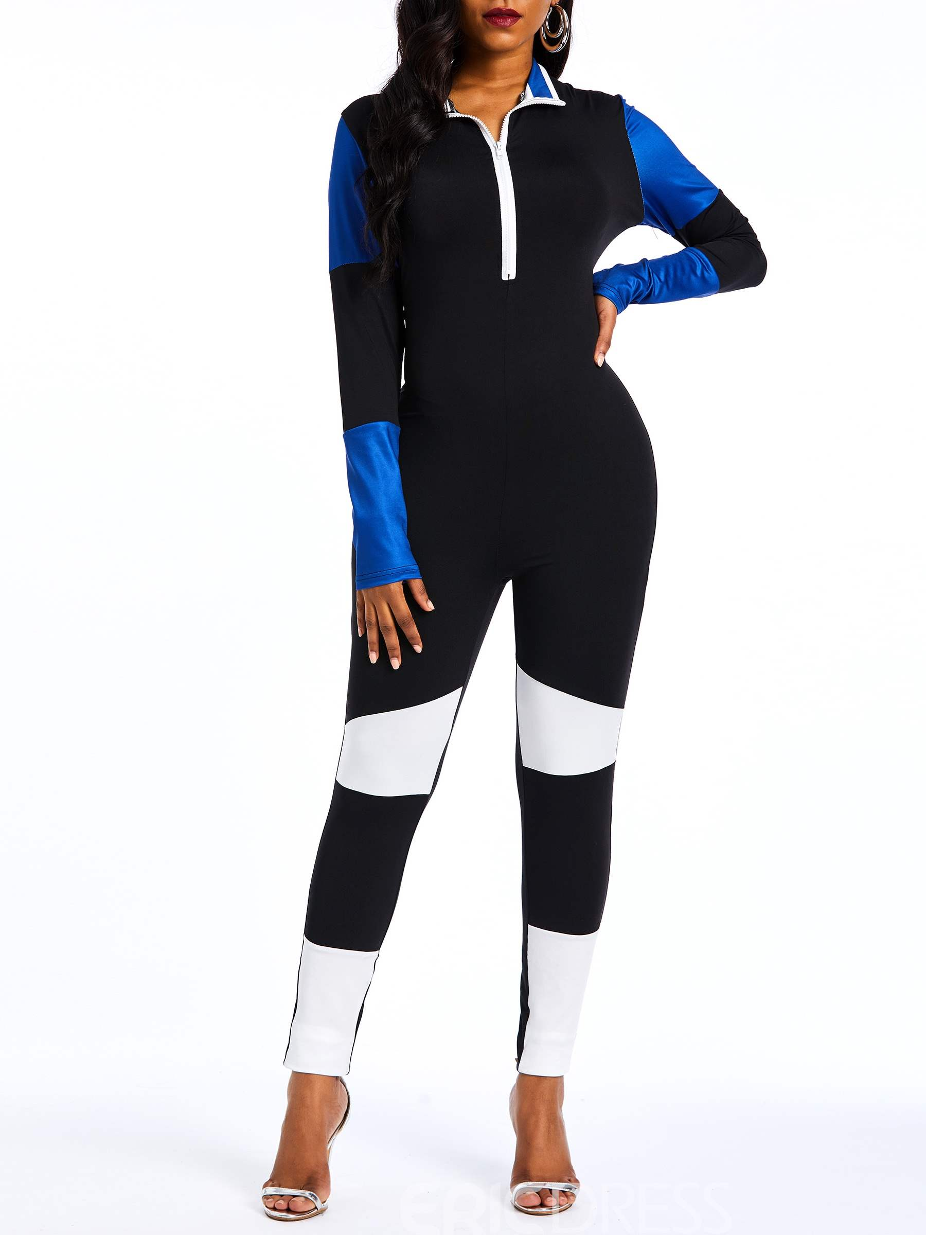 Ericdress Color Block Patchwork Slim Color Block Zipper Women's Jumpsuits
