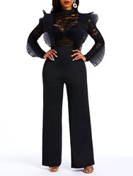 Ericdress Plain See-Through Lace Patchwork Slim Womens Jumpsuits thumbnail