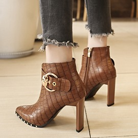 Ericdress Alligator Pattern Pointed Toe Chunky Heel Women's Ankle Boots