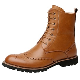 Ericdress Plain Round Toe Side Zipper Men's Martin Boots