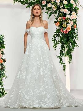 Ericdress Off the Shoulder Ball Gown Lace Wedding Dress