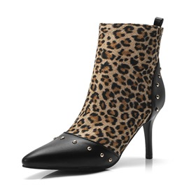Ericdress Rivet Leopard Print Pointed Toe Side Zipper Stiletto Heel Women's Boots