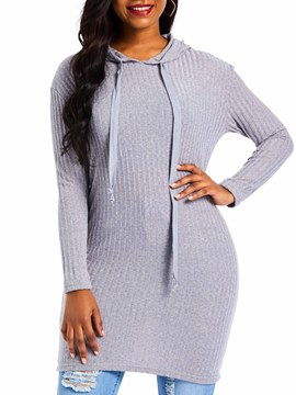 Ericdress Lace-Up Hooded Fall Sweater