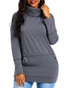 Ericdress Plain Pocket Turtleneck Mid-Length Hoodie