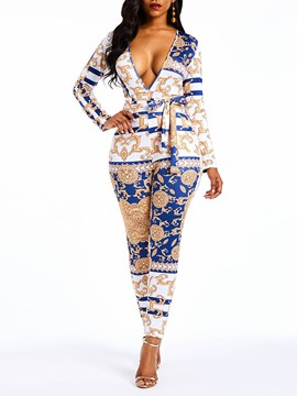 Ericdress Print Color Block Sexy V-Neck Slim Women's Jumpsuits