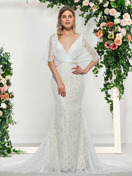 Ericdress V-Neck Beading Lace Mermaid Wedding Dress 2019