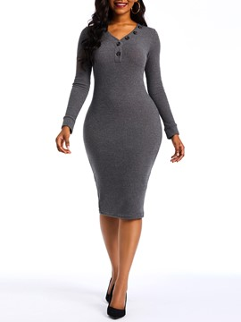 Ericdress Mid-Calf Long Sleeve Button Plain Bodycon Dress