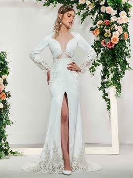 Ericdress Long Sleeve Split-Front Lace Wedding Dress 2019