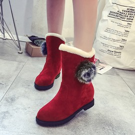 Ericdress Plain Faux Fur Round Toe Women's Snow Boots