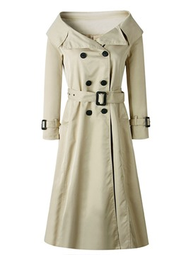 Ericdress Lace-Up Long Double-Breasted Slim Regular Trench Coat