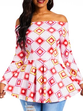 Ericdress Off Shoulder Lantern Sleeve Geometric Dashiki Blouse