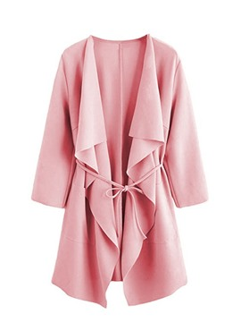 ericdress revers lace-up trench-coat moyen lâche