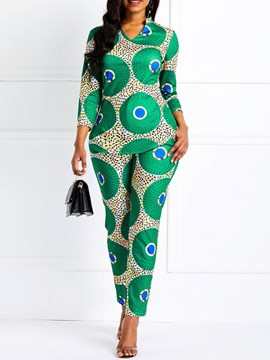 Ericdress Geometric Pattern Print Skinny Shirt and Pants Women's Two Piece Sets
