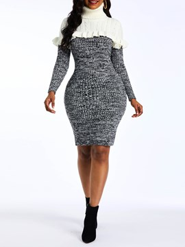 EricdressRuffles Color Block Above Knee Turtleneck Sweater Dress