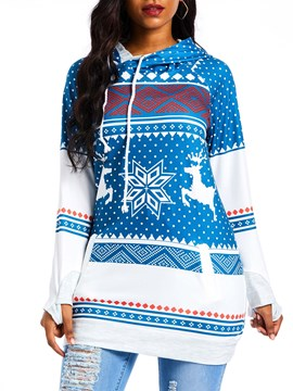Ericdress Patchwork Color Block Mid-Length Fall Hoodie
