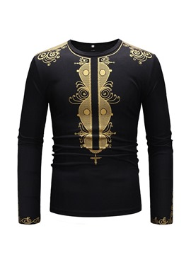 Ericdress African Fashion Dashiki Print Round Neck Mens T-shirt