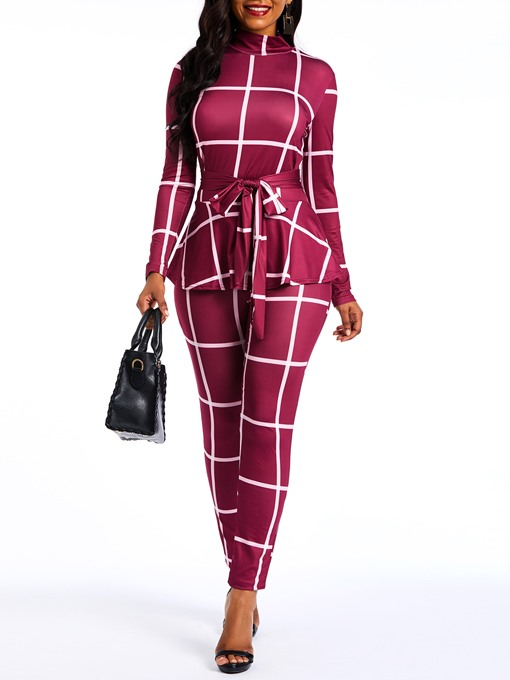 Ericdress Plaid Skinny Ruffles Stretchy Slim Jumpsuit