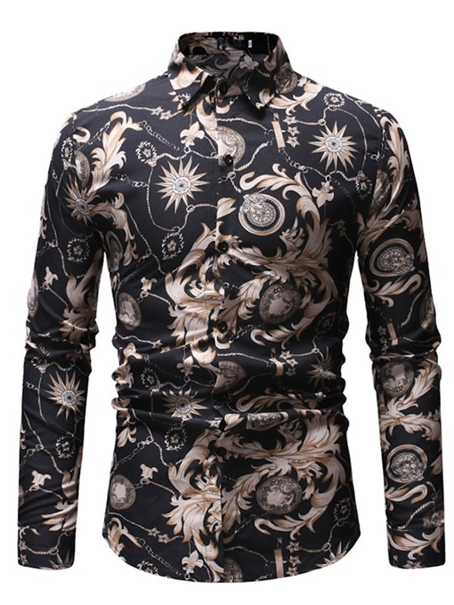 Ericdress Floral Peinted Lapel Mens Casual Party Slim Shirt