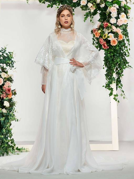 Ericdress High Neck Lace Wedding Dress with Cape