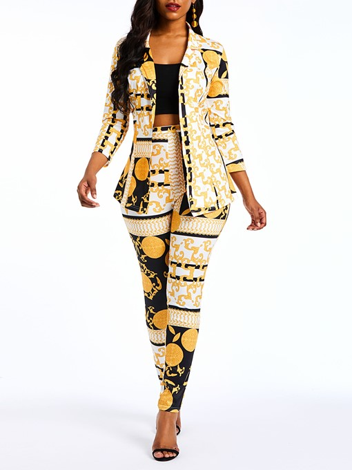Ericdress African Print Fashion Geometric Blazer and Pencil Pants Women's Formal Suits