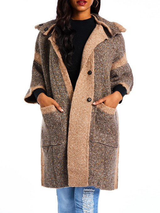 Ericdress Straight Fall Mid-Length Color Block Overcoat