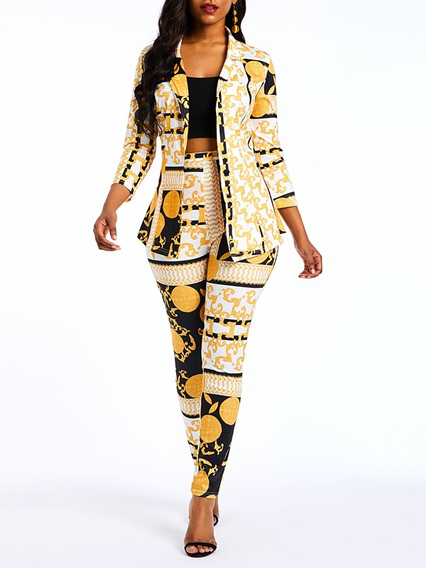 Ericdress African Print Fashion Geometric Blazer and Pencil Pants Womens Formal Suits