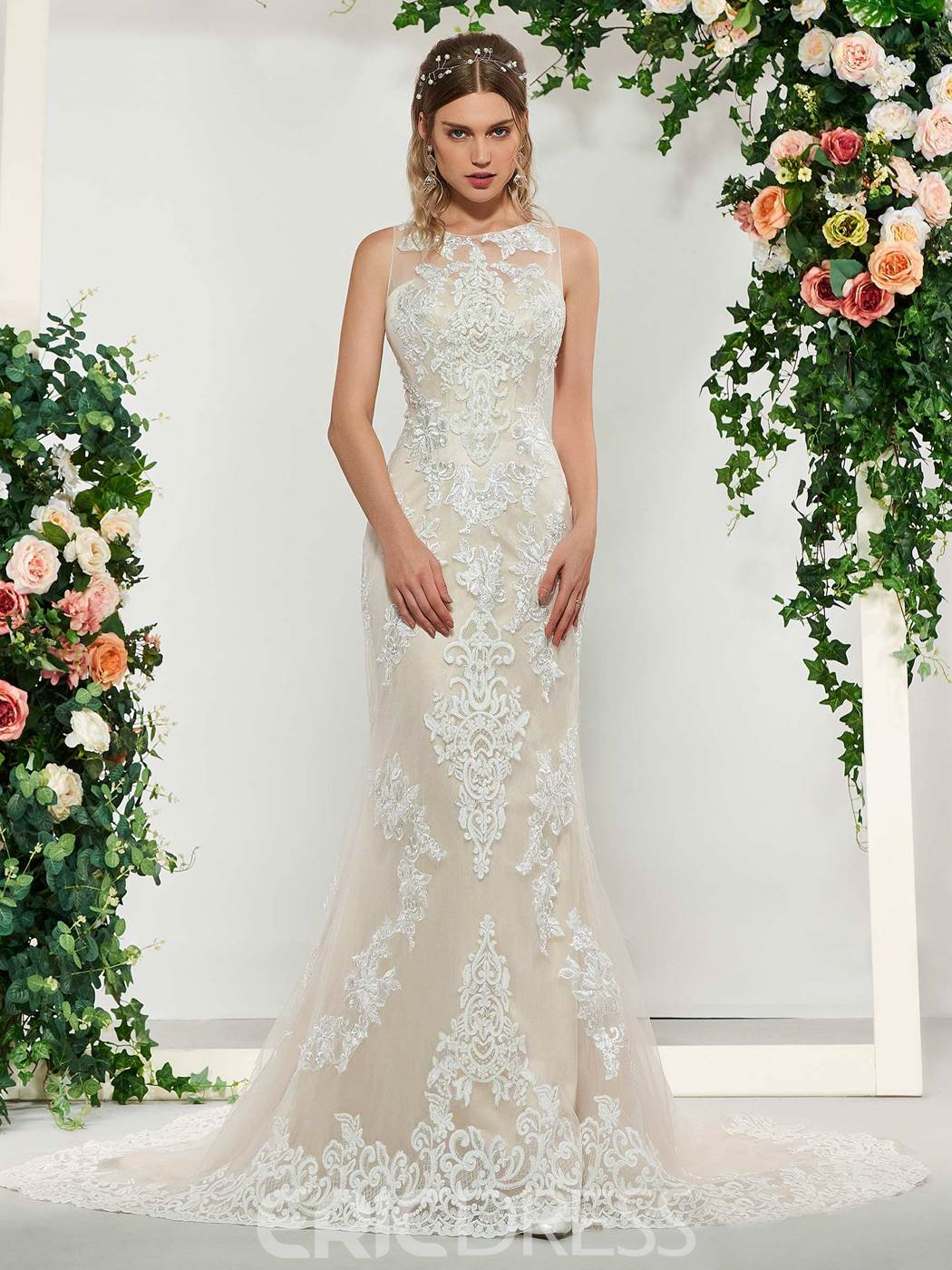 Ericdress Mermaid Scoop Neck Lace Garden Wedding Dress