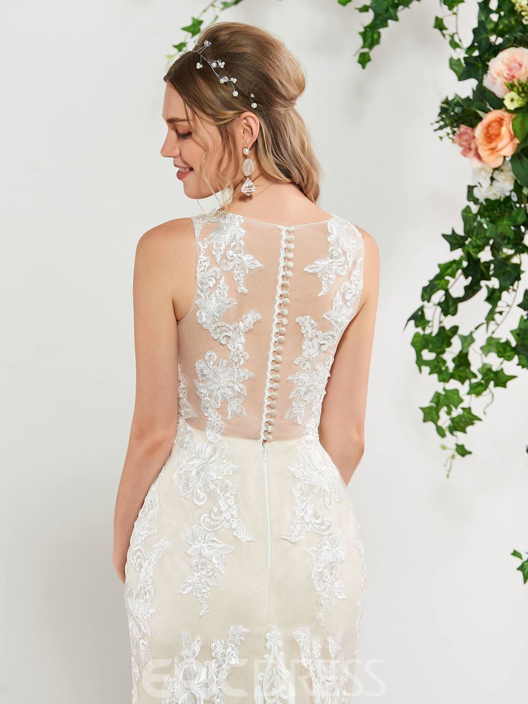 Ericdress Mermaid Button Back Lace Wedding Dress 2019