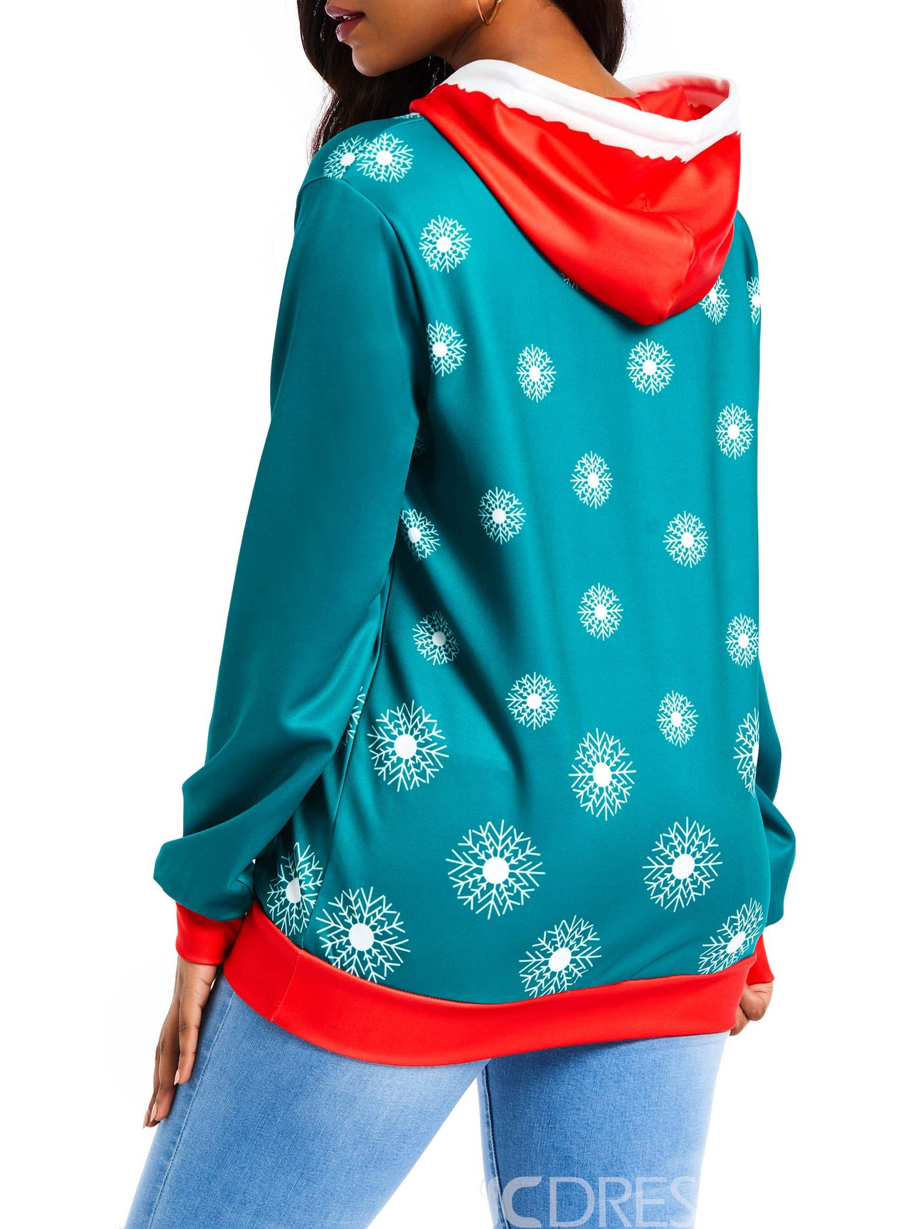 Ericdress Print Color Block Standard Winter Hoodie