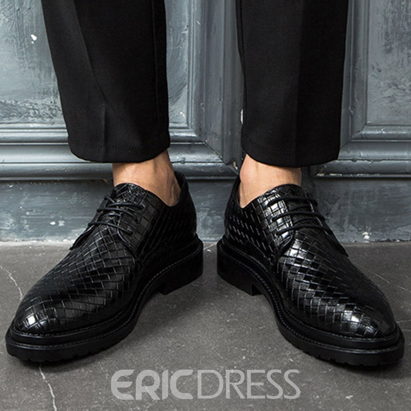 Ericdress Low-Cut Upper Plaid Men's Dress Shoes