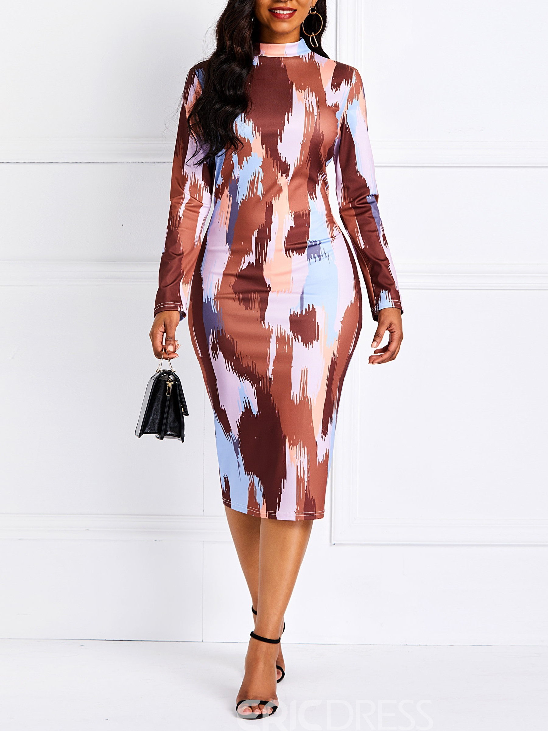 Ericdress Long Sleeve Mid-Calf Bodycon Dress