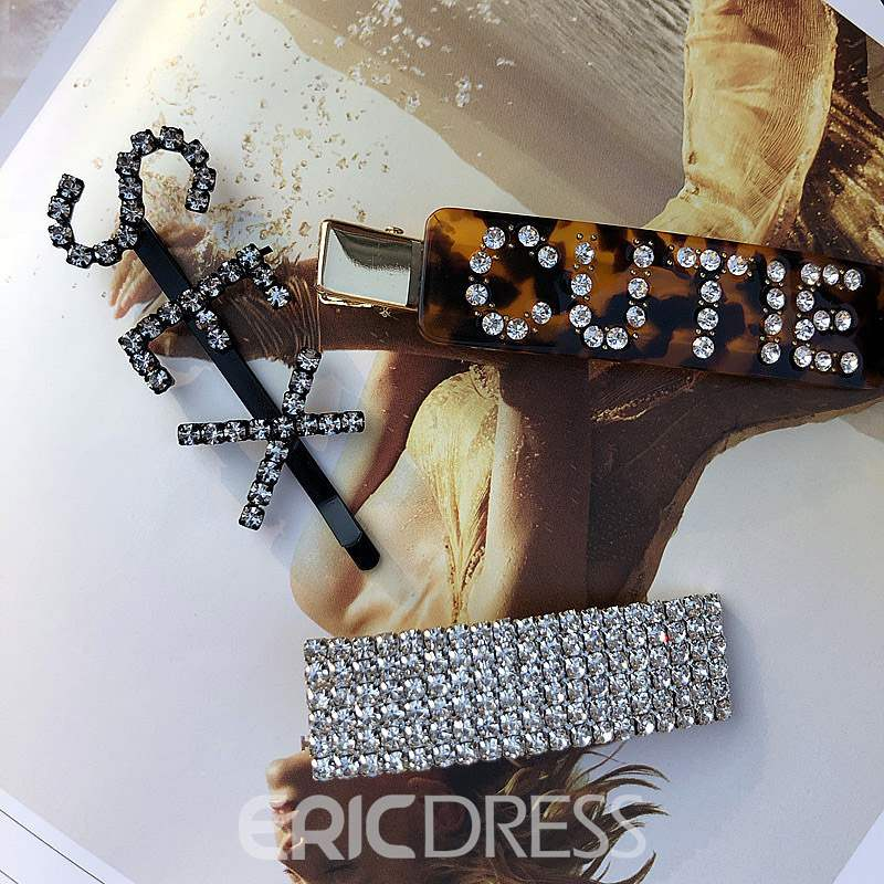 Ericdress Rhinestone Letter HairPin Accessories
