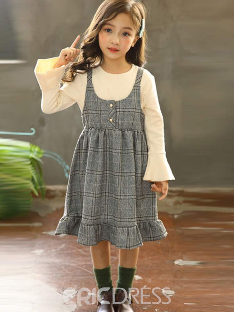 Ericdress Pleated Button Plaid Girl's Suit